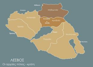 Η θέση του Ιερού στον χάρτη των αρχαίων επικρατειών της Λέσβου